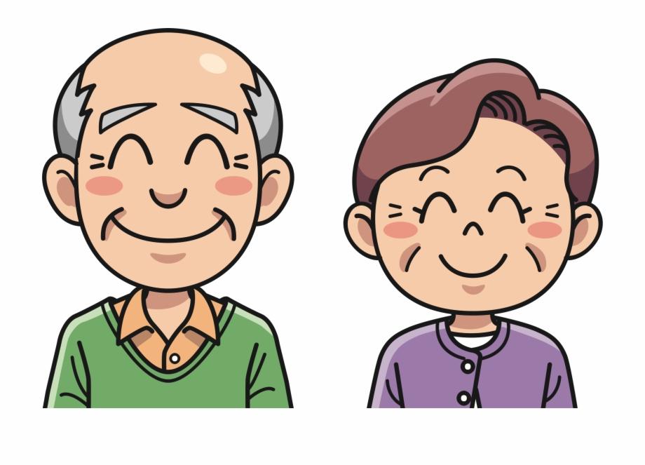 Grandpa happy old couple. Grandma clipart head