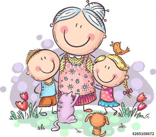 Grandmother clipart kind child. Everyone loves granny with