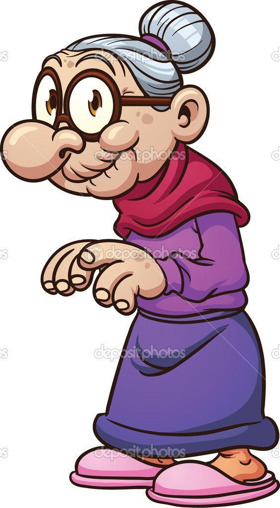 Cartoon grandma stock vector. Grandmother clipart old folks