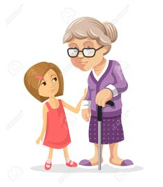 Happy little girl with. Grandmother clipart
