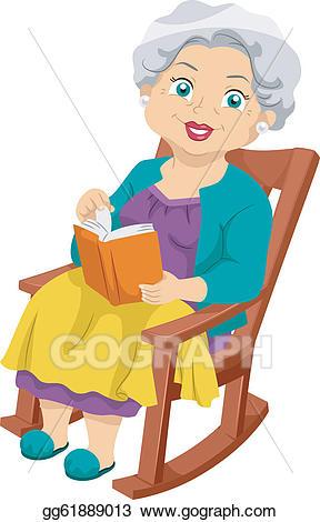 Grandmother clipart elderly reading. Vector art senior rocking