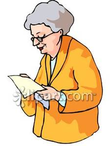 Old woman a letter. Grandmother clipart elderly reading