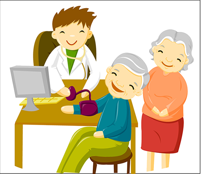 Grandmother clipart elderly reading. Physician cartoon illustration blood