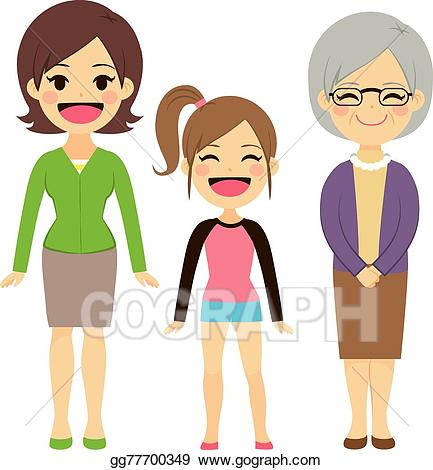 Grandmother clipart kind child. Vector stock three generation
