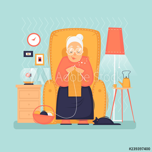 Sits in a chair. Grandmother clipart pensioner