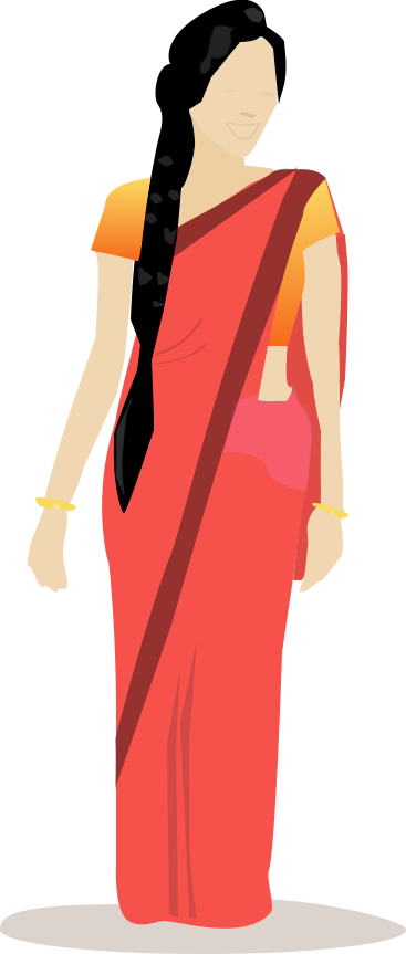 Lady clipart saree. Indian woman in sketch