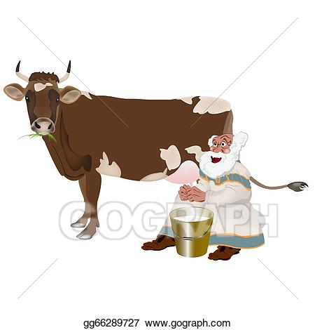Milkman and a cow. Grandpa clipart bold