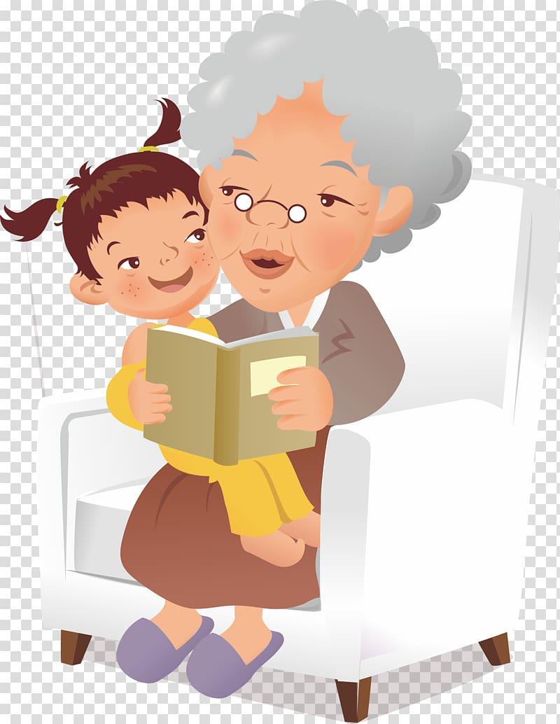 Child on grandmother s. Grandparent clipart little family