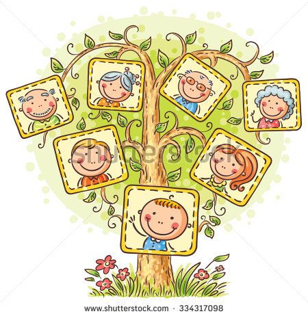 Grandparent clipart little family. Tree in pictures child
