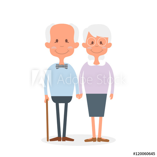 Grandparent clipart retired couple. Happy old together cute