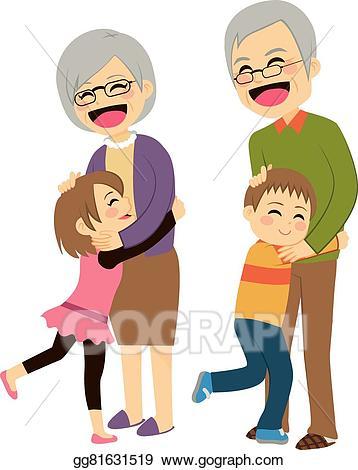 Vector grandchildren hugging grandparents. Young clipart grandparent child