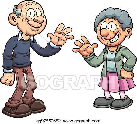Vector illustration eps . Grandparents clipart cartoon