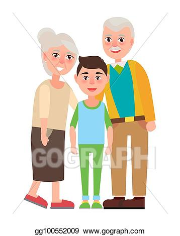 Vector art grandparents with. Young clipart grandparent child