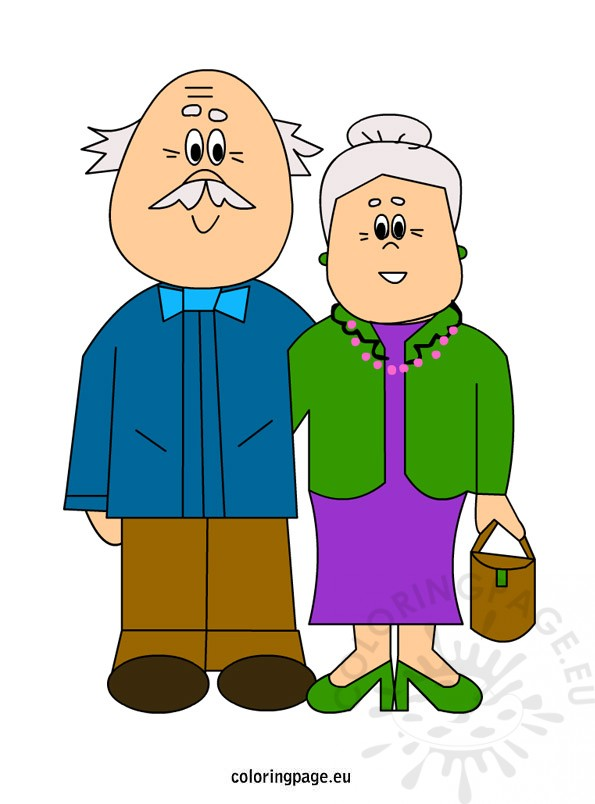 Grandparents coloring page grandparentsclipart. Grandparent clipart retired couple