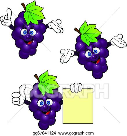 Vector art grape character. Grapes clipart cartoon
