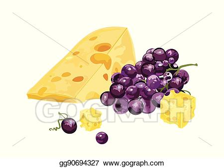 Vector illustration and stock. Grapes clipart cheese