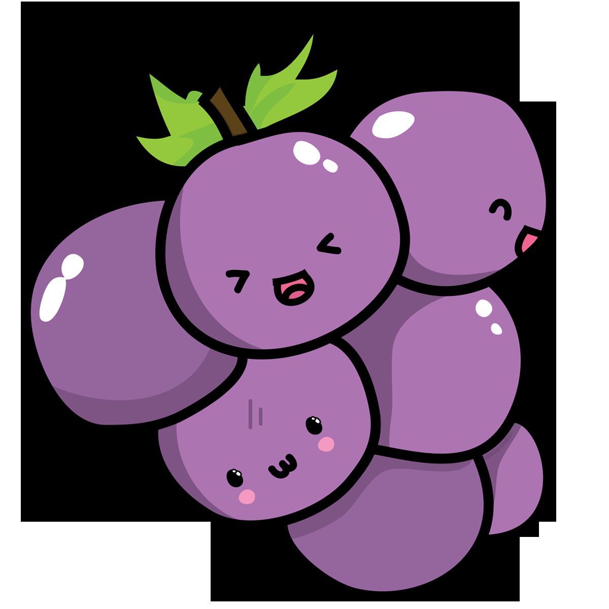 Kavaii grape chibi food. Kawaii clipart grocery