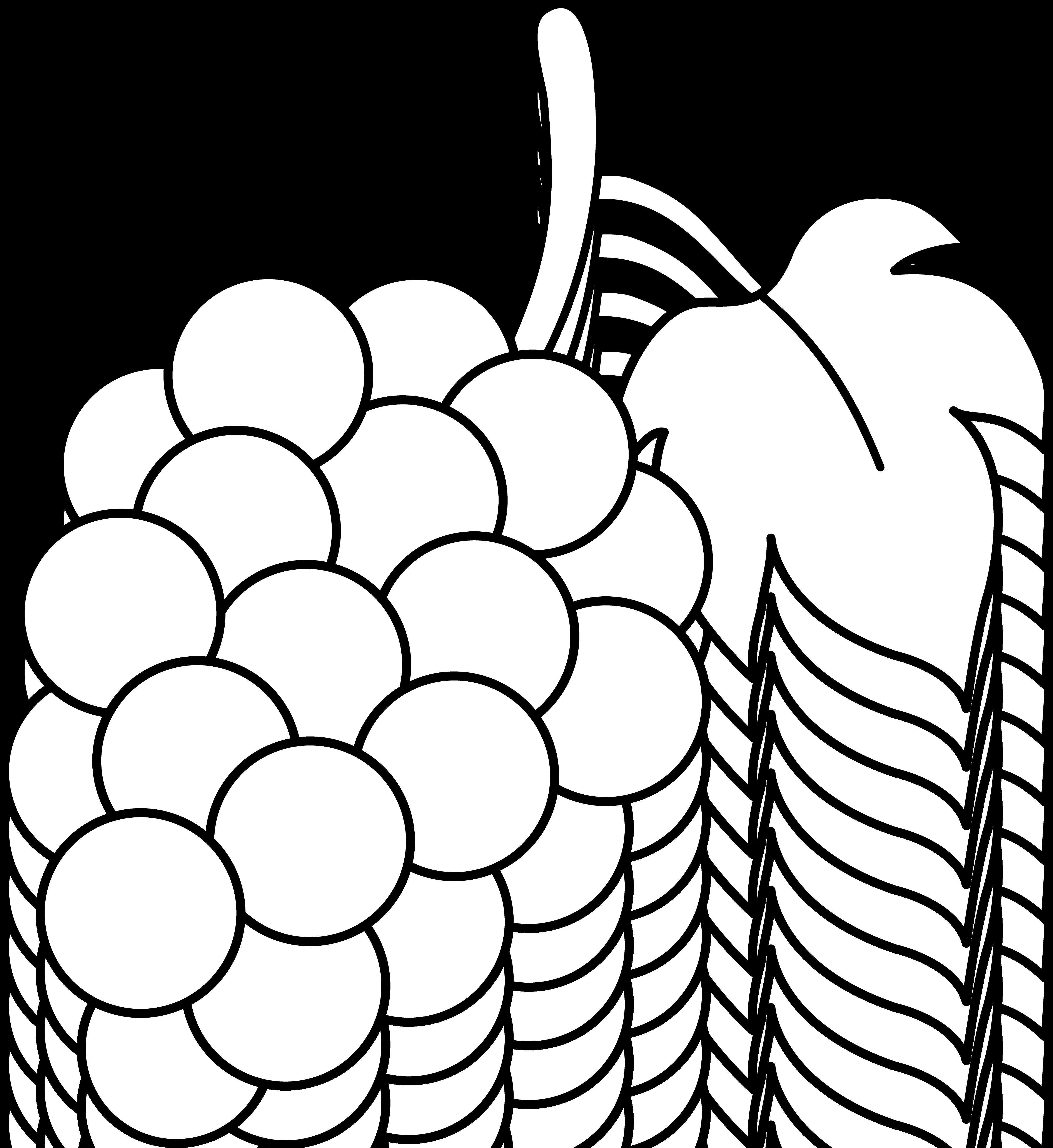 Line art of a. Grape clipart coloring