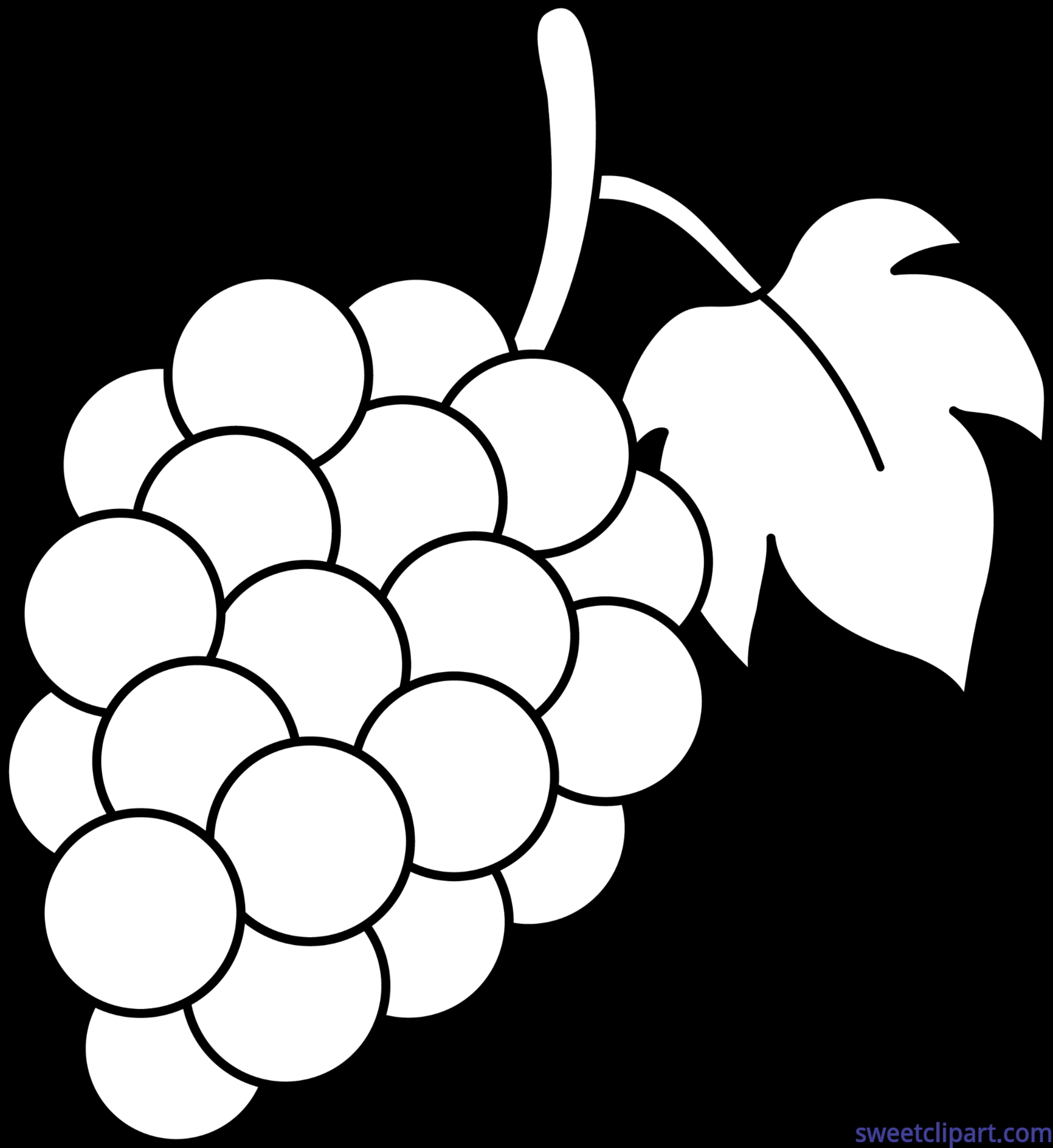 Grapes clipart line art. Lineart clip sweet