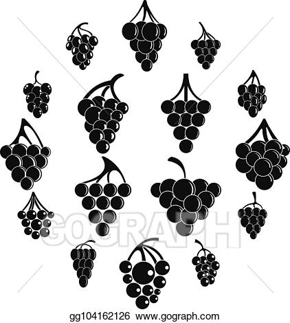 Grape clipart simple. Vector wine bunch icons