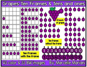 Place value frames counting. Grapes clipart ten