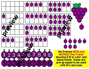 Grapes clipart ten. Place value frames counting
