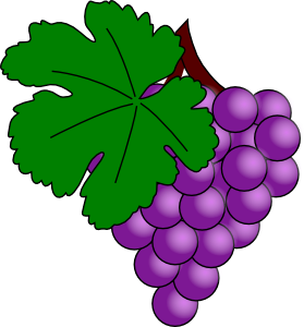 Grapes clipart. Grape with vine leaf