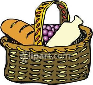A basket of and. Grapes clipart bread