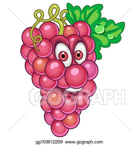 Grapes clipart summer. Vector art cartoon fruit