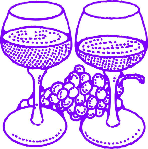 Large glasses with grapes. Purple clipart wine glass
