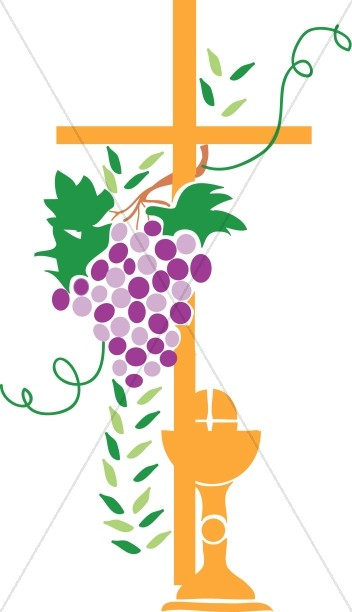 Wrapped with communion elements. Grapevine clipart cross