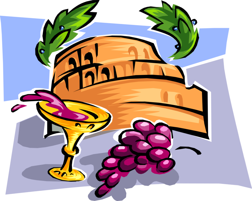 Rome clipart coliseum. Wine and grapes with