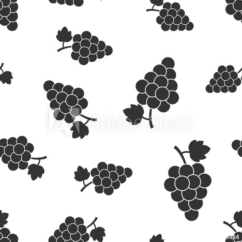 Grape fruit with leaf. Grapevine clipart pattern