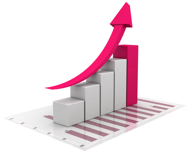 Colors red sales growth. Graph clipart buisness
