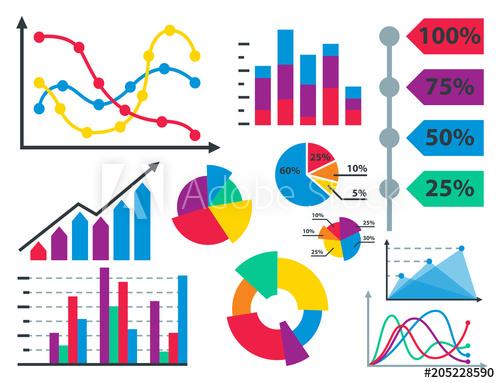 Graph clipart data sheet. Diagram chart elements vector