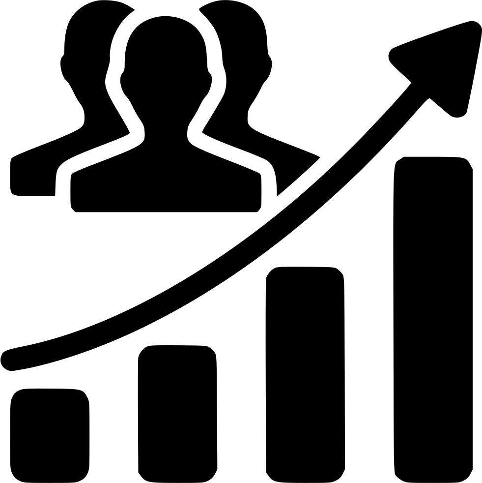 Audience svg png icon. Growth clipart growth chart