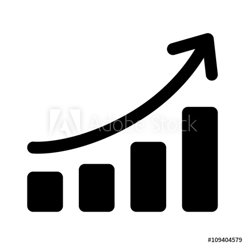 Chart curve flat icon. Graph clipart growth graph