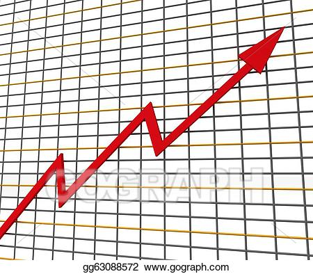 Graph clipart red line. Stock illustration shows profit