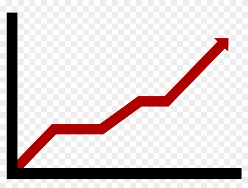 Chart arrow growth rising. Graph clipart red line