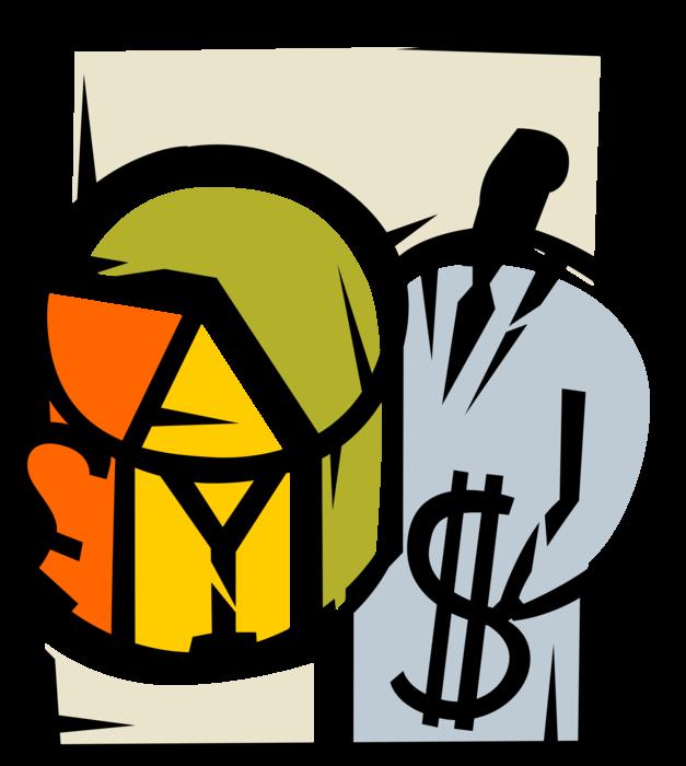 Entrepreneur increases sales revenues. Graph clipart revenue