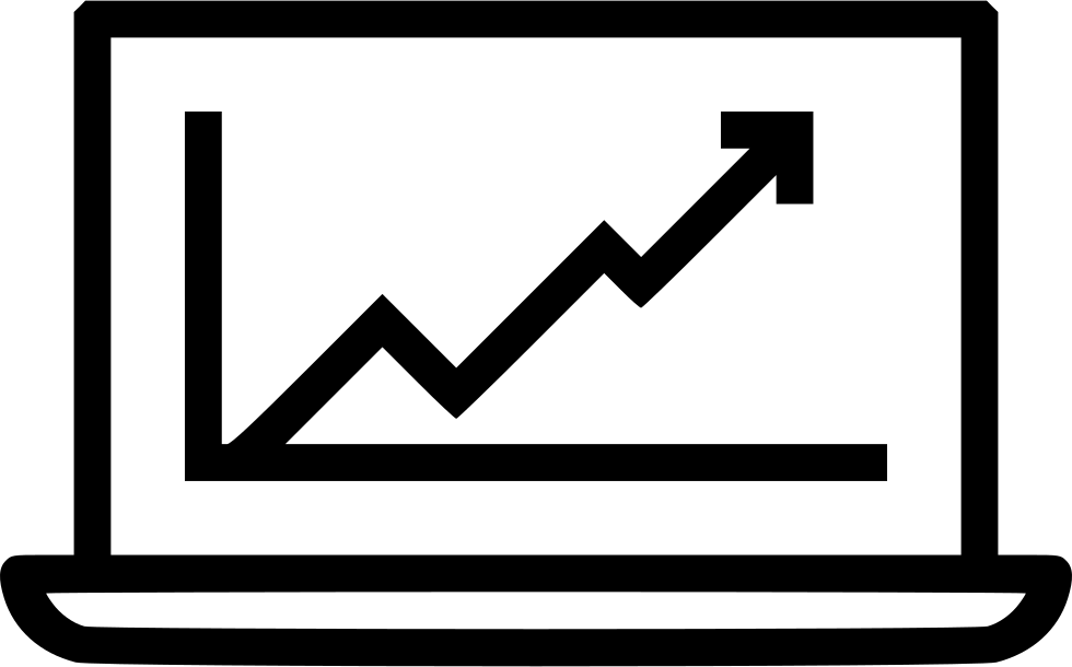 Online marketing growth chart. Graph clipart upward