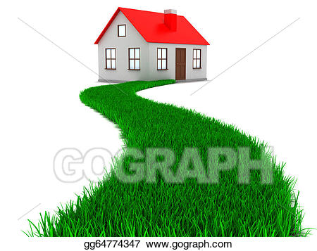 Stock illustration road to. Grass clipart house