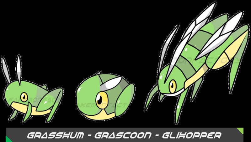 Grasshopper pokemon by harikenn. Insects clipart katydid