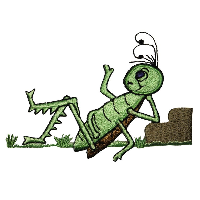Grasshopper clipart patch. Id lazy insect bug