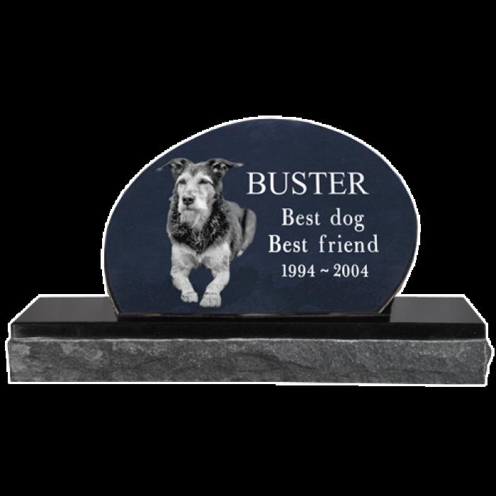 Pet photo laser engraved. Grave clipart dog