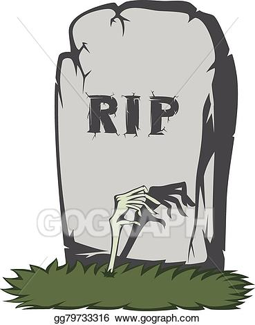 Grave clipart scary. Vector illustration spooky tombstone