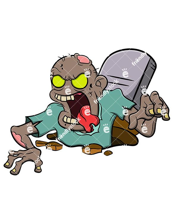 Zombie clipart grave. Coming out of black