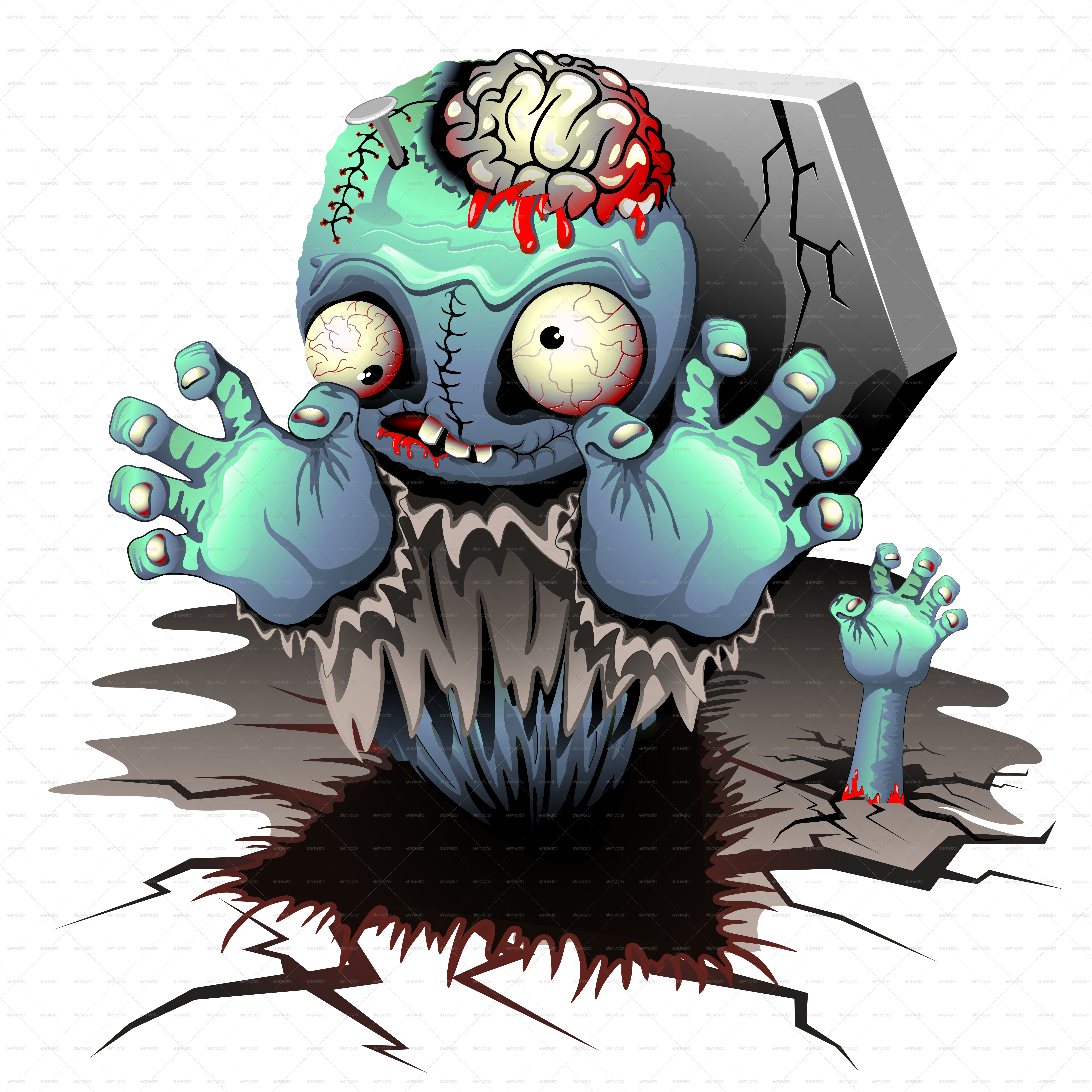 Zombie clipart scary halloween monsters. Monster cartoon doll by