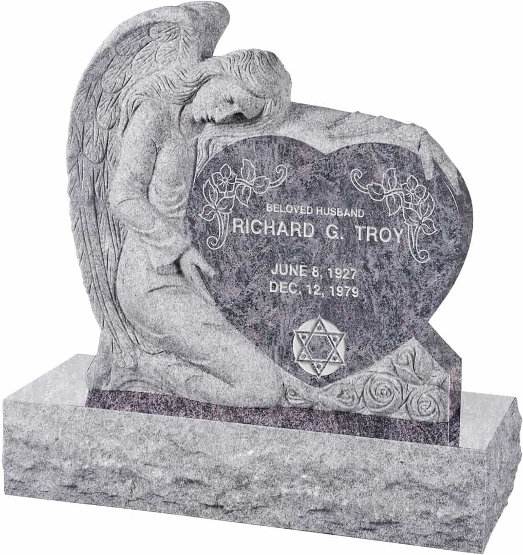 Headstone clipart man angel. With heart upright polished