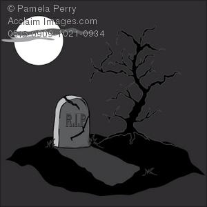 Graveyard clipart. Clip art illustration of
